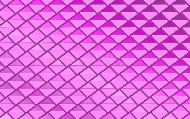 紫色和桃红色金属三角在抽象背景中 皇族释放例证