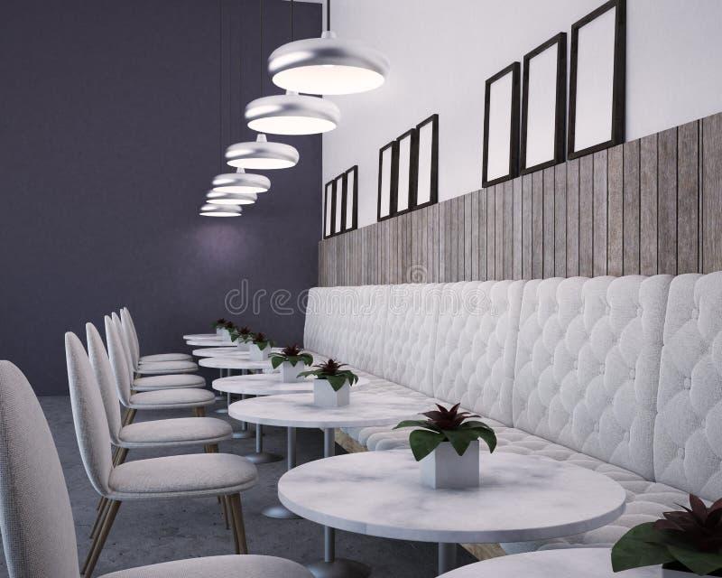 紫色和白色豪华餐馆,海报画廊 皇族释放例证