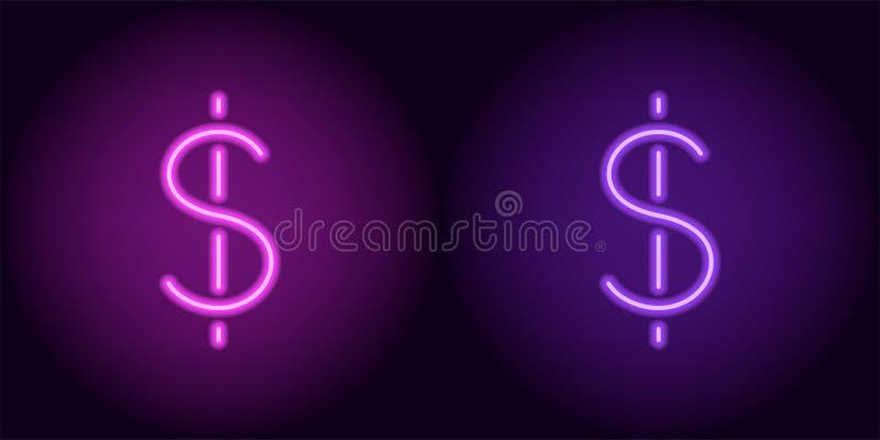 紫色和紫罗兰色霓虹美元的符号 库存例证