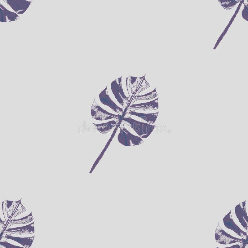 紫色和黑暗的紫色热带叶子有纹理样式的 向量 皇族释放例证