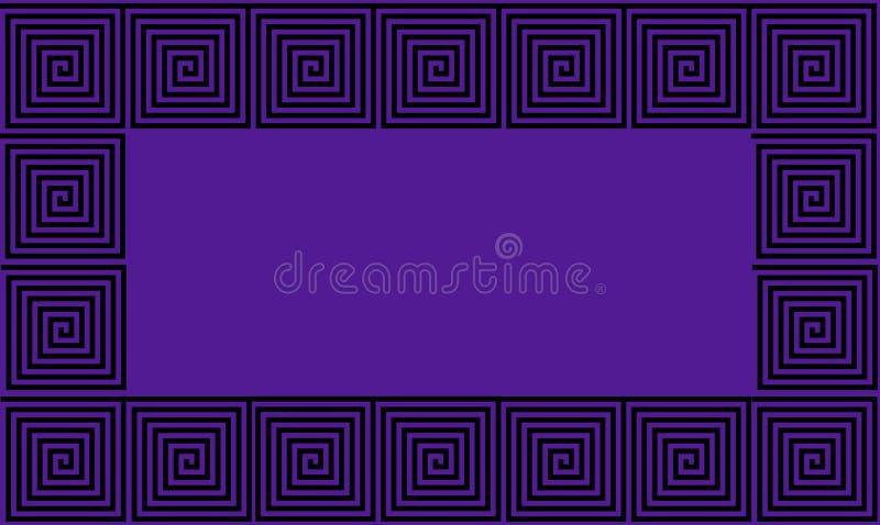紫色和黑框架古希腊河曲无缝的样式,单纯化的黑历史背景 E 向量例证