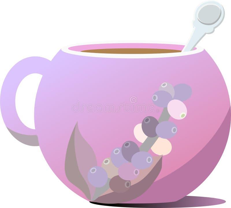 紫色咖啡杯 以咖啡树的形式小树枝的图  免版税库存图片