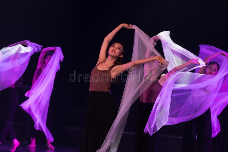 紫色围巾3--舞蹈戏曲驴得到水 图库摄影