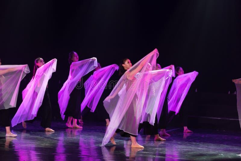 紫色围巾5--舞蹈戏曲驴得到水 免版税库存照片
