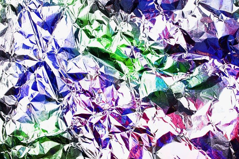 紫色在趋向霓虹颜色的箔抽象背景 您明亮的项目的水平的准备好背景 库存照片