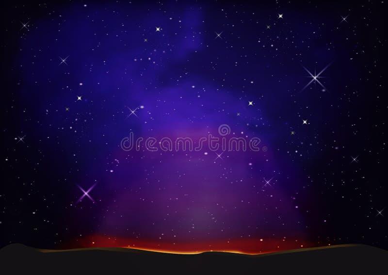 紫色夜空有星背景 向量例证