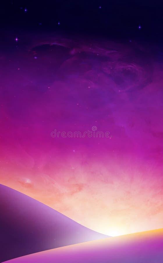 紫色天空日落,日出超现实的墙纸 库存例证