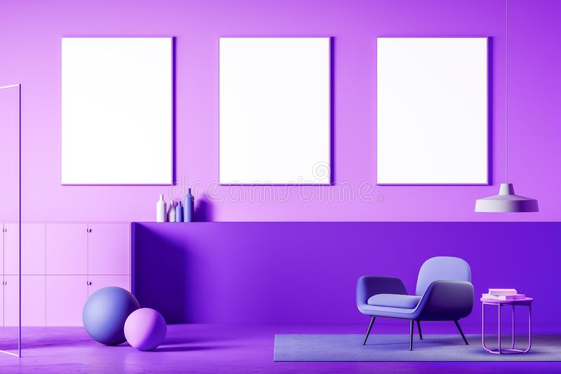 紫色客厅、扶手椅子和海报画廊 库存例证