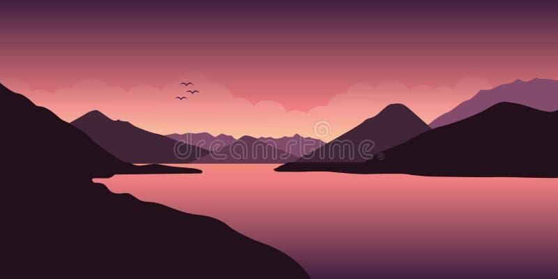 紫色平安的河山风景 皇族释放例证
