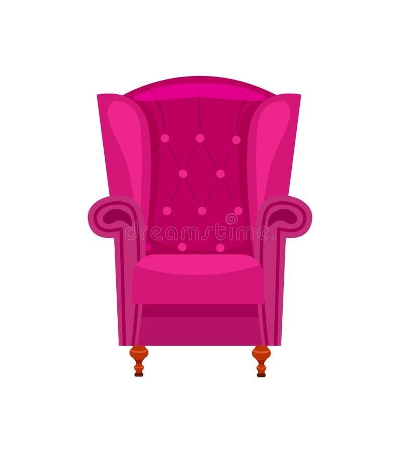 紫色扶手椅子被隔绝的传染媒介象 库存例证