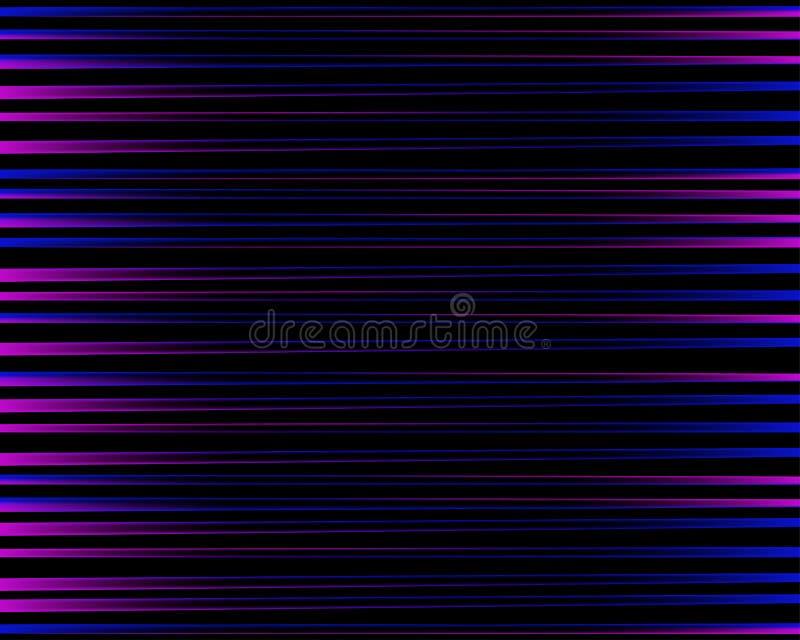 紫色抽象样式 明亮的五颜六色的印刷品组成由在黑背景的紫色,蓝色和桃红色线 镶边色的backgr 向量例证