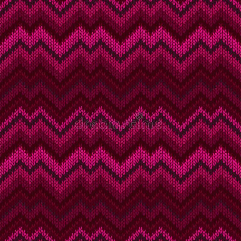 紫色无缝的编织样式 之字形刺绣纹理 库存例证