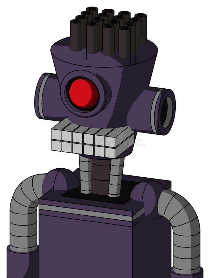 紫色机械与圆筒圆锥形头和键盘嘴和独眼巨人注视并且用管道输送头发 向量例证