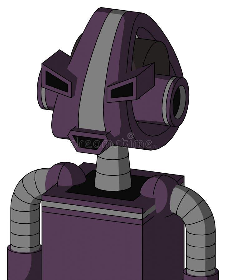 紫色机械与Droid头和愉快的嘴和恼怒的眼睛 皇族释放例证