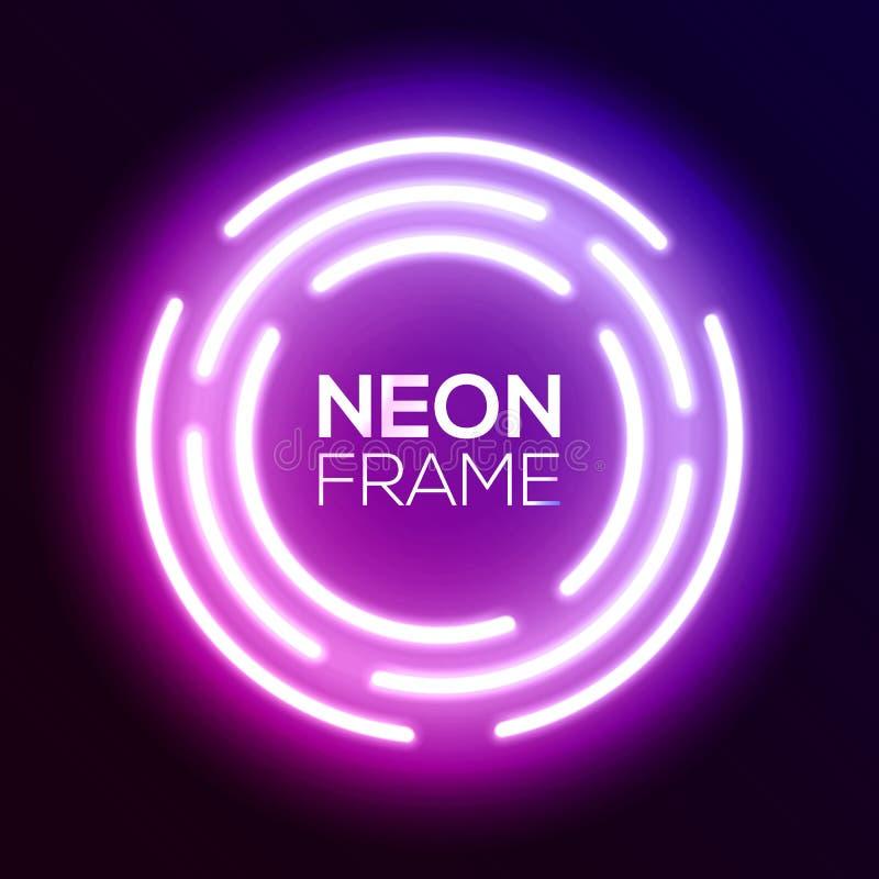 紫色梯度霓虹灯框架 Techno圈子 皇族释放例证