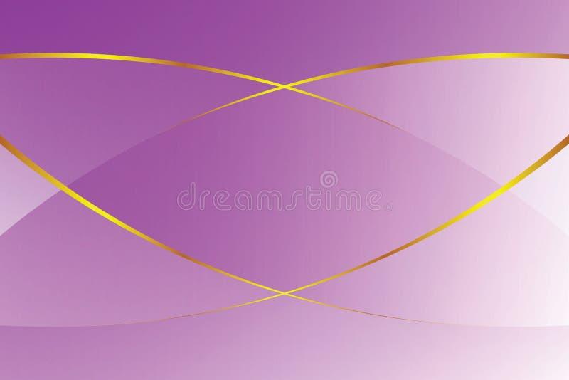 紫色梯度颜色柔光和金黄线化妆用品横幅广告豪华现代背景的图表 库存例证