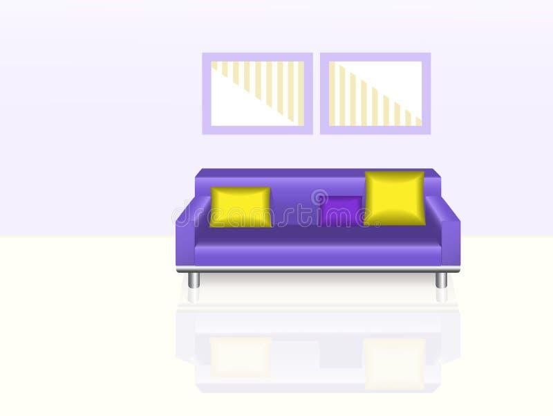 紫色沙发 库存例证