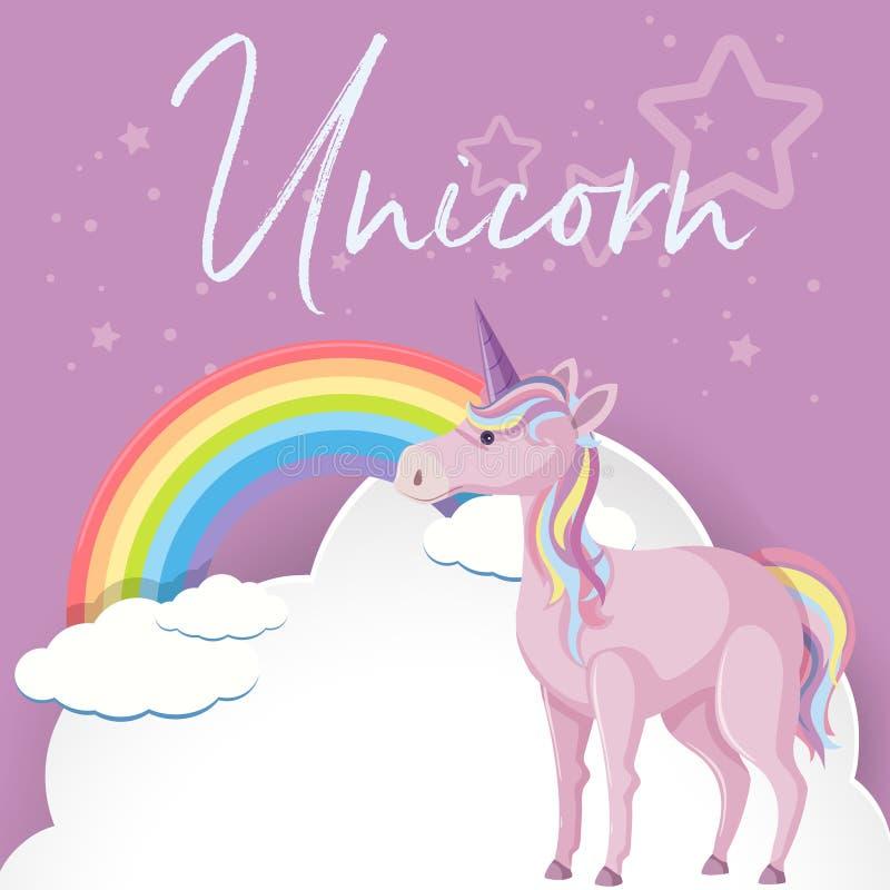 紫色独角兽和彩虹在天空 库存例证