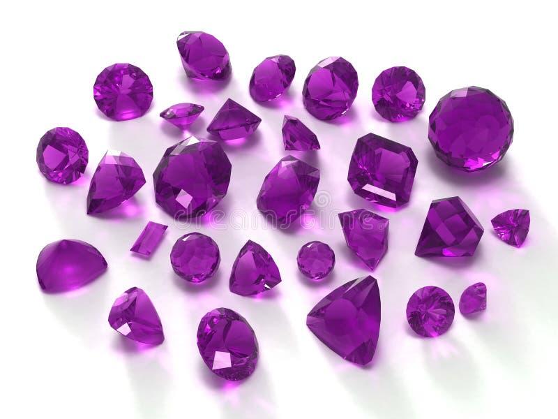紫色的宝石 库存例证