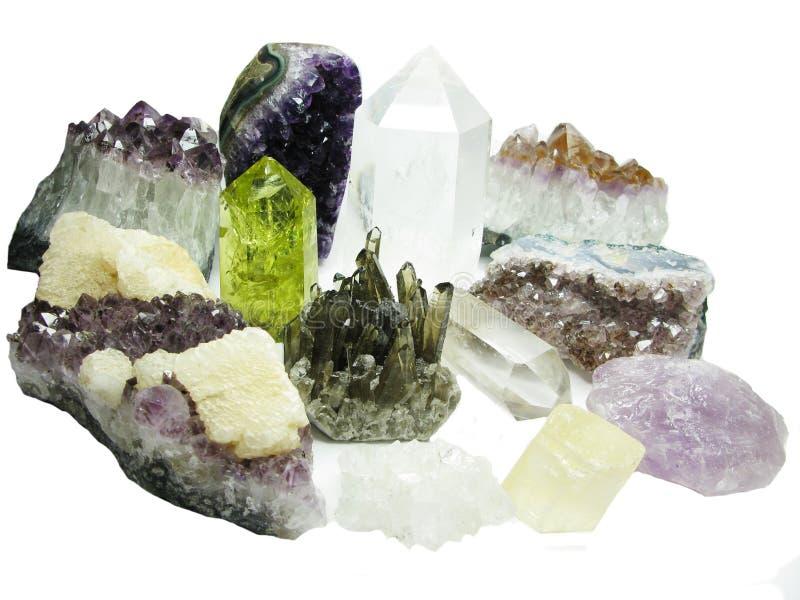 紫色的柠檬色石英geode地质水晶 库存照片