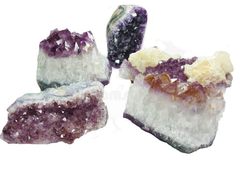 紫色的石英geode地质水晶 图库摄影