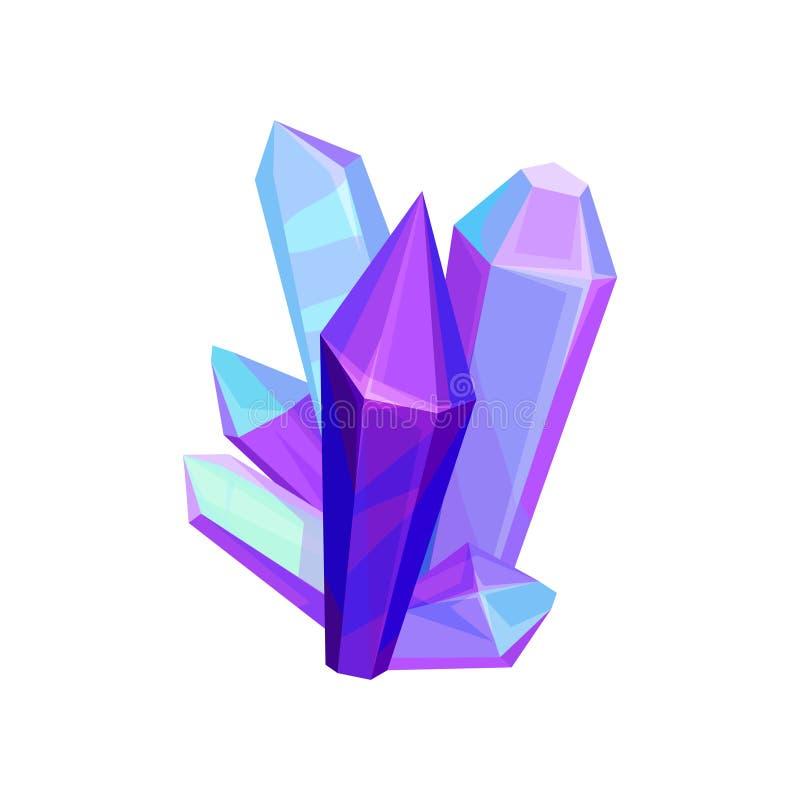 紫色的矿物crystalic宝石,水晶宝石导航在白色背景的例证 库存例证