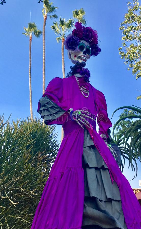紫色的高亡灵节夫人 免版税库存图片