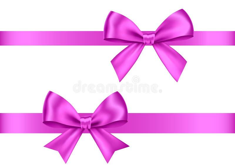 紫色礼物鞠躬圣诞节的集合,新年装饰 皇族释放例证
