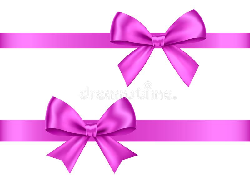 紫色礼物鞠躬圣诞节的集合,新年装饰 向量例证