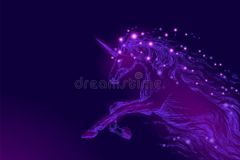 紫色紫罗兰色发光的马独角兽骑马夜空星 创造性的装饰不可思议的背景光亮的波斯菊空间 库存例证