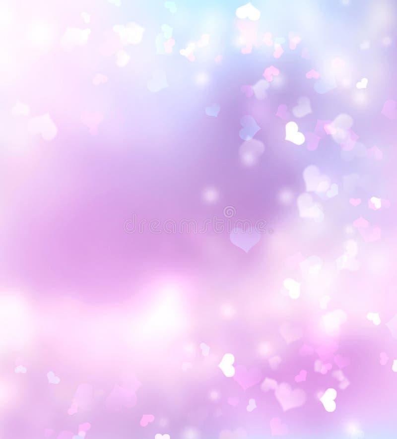 紫色紫罗兰色桃红色被弄脏的华伦泰背景 库存例证