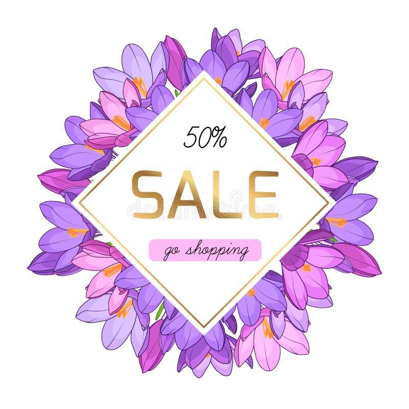 紫色紫罗兰色番红花开花春天销售横幅 皇族释放例证