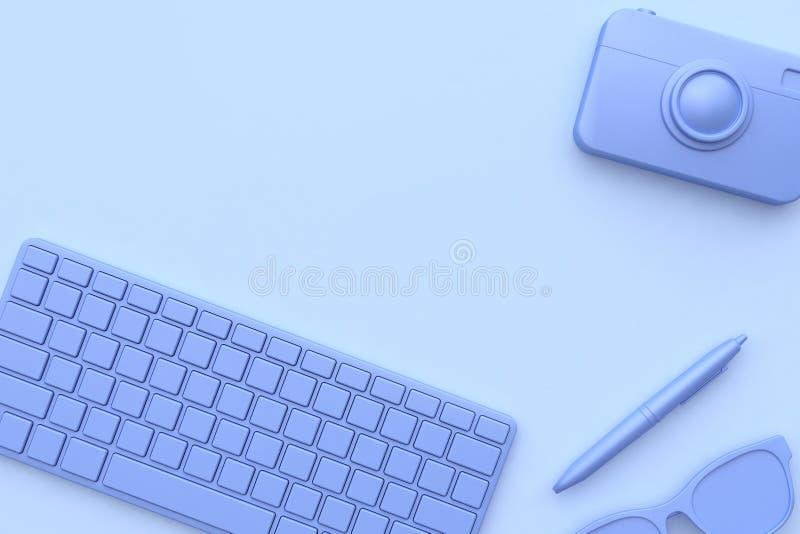 紫色紫罗兰色笔的玻璃所有对象抽象场面3d回报技术概念 免版税库存照片