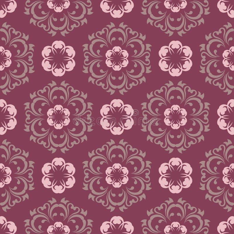 紫色红色花卉无缝的样式 与花设计元素的背景 皇族释放例证