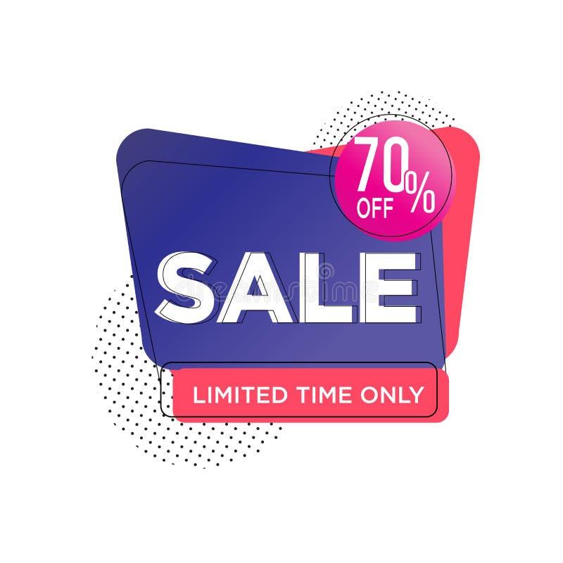 紫色红色70%折扣摘要销售横幅模板设计,大销售特价 海报的,飞行物特价横幅, 库存例证