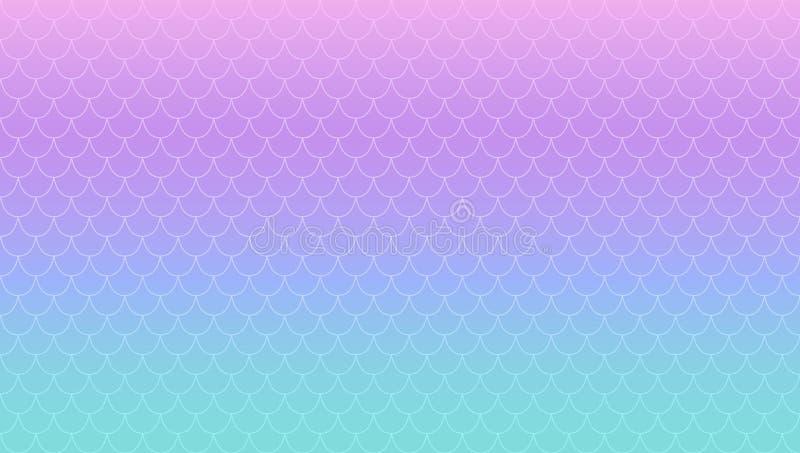 紫色绿松石不可思议的梯度背景 Kawaii珍珠层美人鱼 呈虹彩公主的尾巴 皇族释放例证