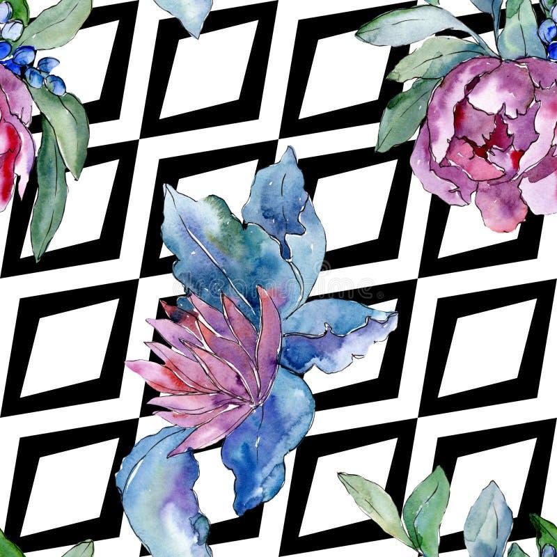 紫色花束花卉植物的花 水彩背景例证集合 无缝的背景模式 库存图片