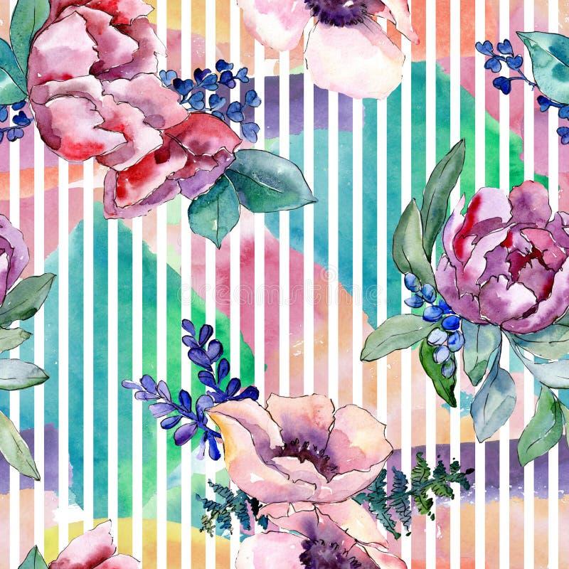 紫色花束花卉植物的花 水彩背景例证集合 无缝的背景模式 库存照片