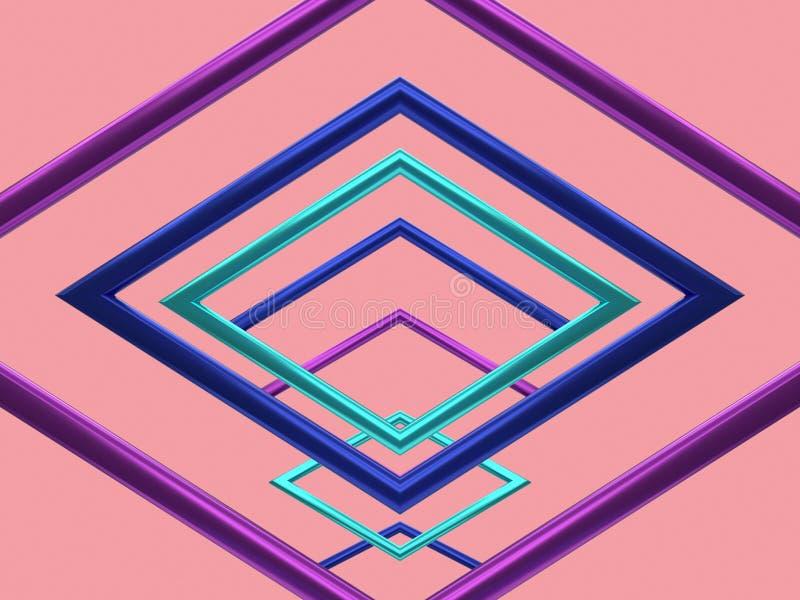 紫色蓝绿色金属反射几何形状空白的框架小组桃红色背景升空3d翻译 向量例证