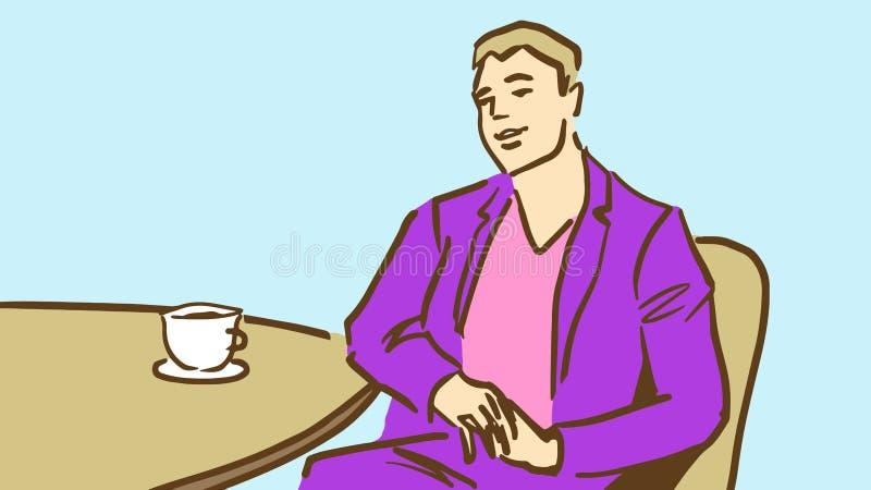 紫色衣服饮用的咖啡或茶的动画片年轻人在餐馆 皇族释放例证