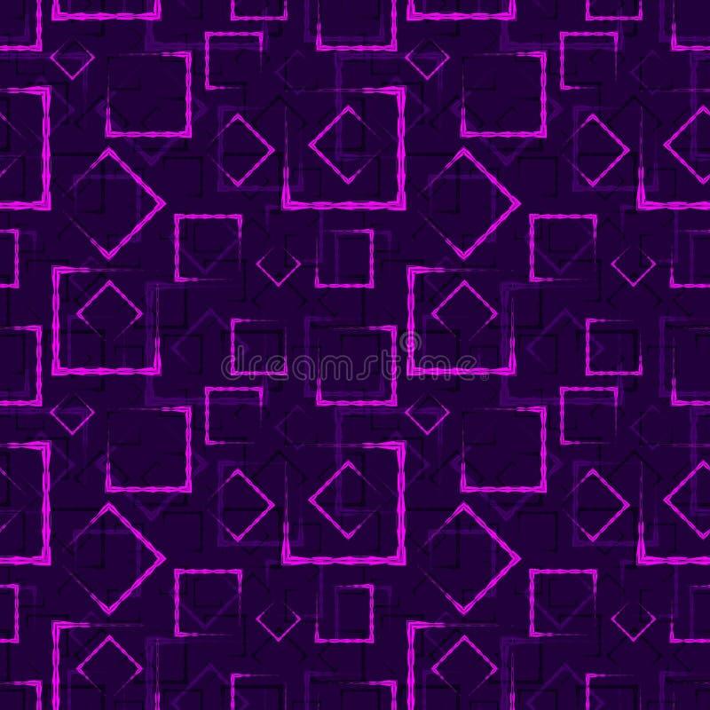 紫色被雕刻的正方形和框架的一个抽象黑暗的背景或样式 向量例证