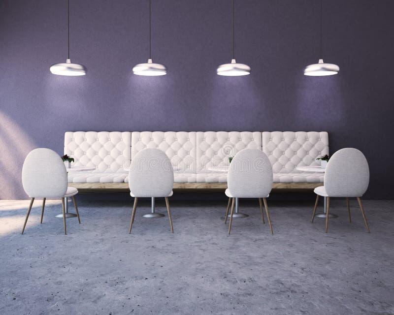 紫色豪华餐馆内部、沙发和椅子 向量例证