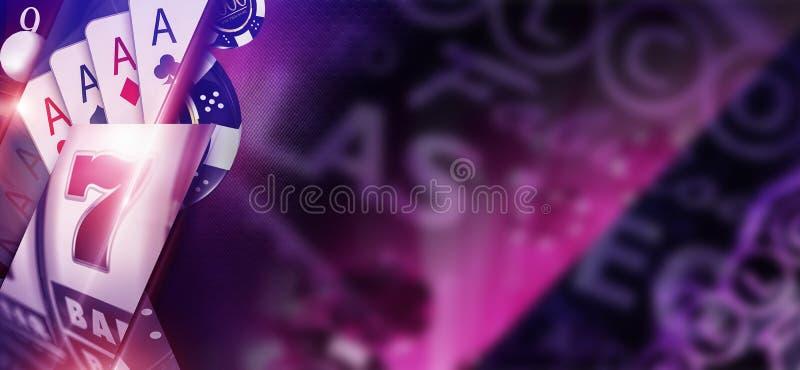 紫色赌博娱乐场横幅概念 皇族释放例证
