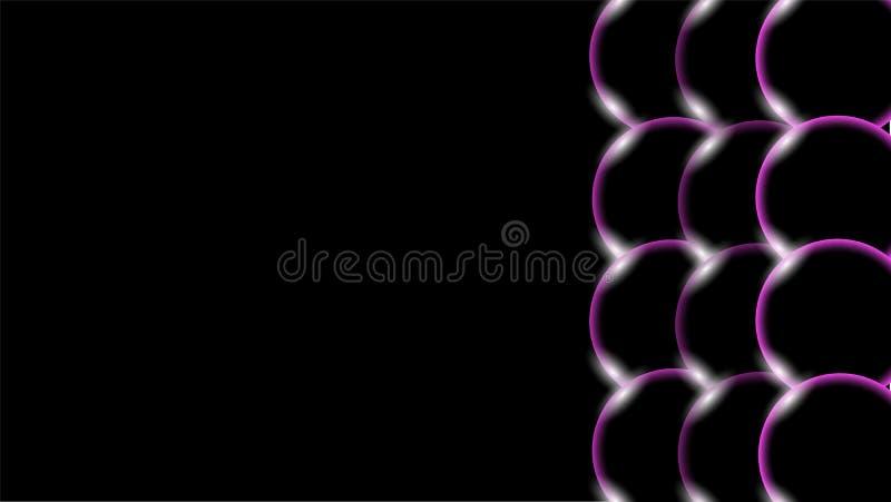 紫色透明抽象发光的美丽和凸面容量简单的球,泡影,怂恿与被找出的光强光的圈子 库存例证