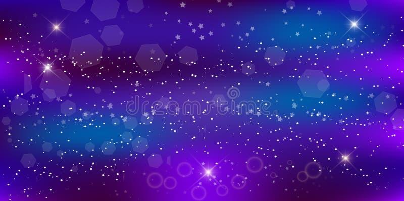 紫色霓虹不可思议的横幅,星系夜满天星斗的天空墙纸 库存例证
