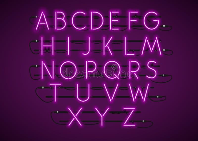 紫色霓虹字体式样在紫色背景设置了 向量例证
