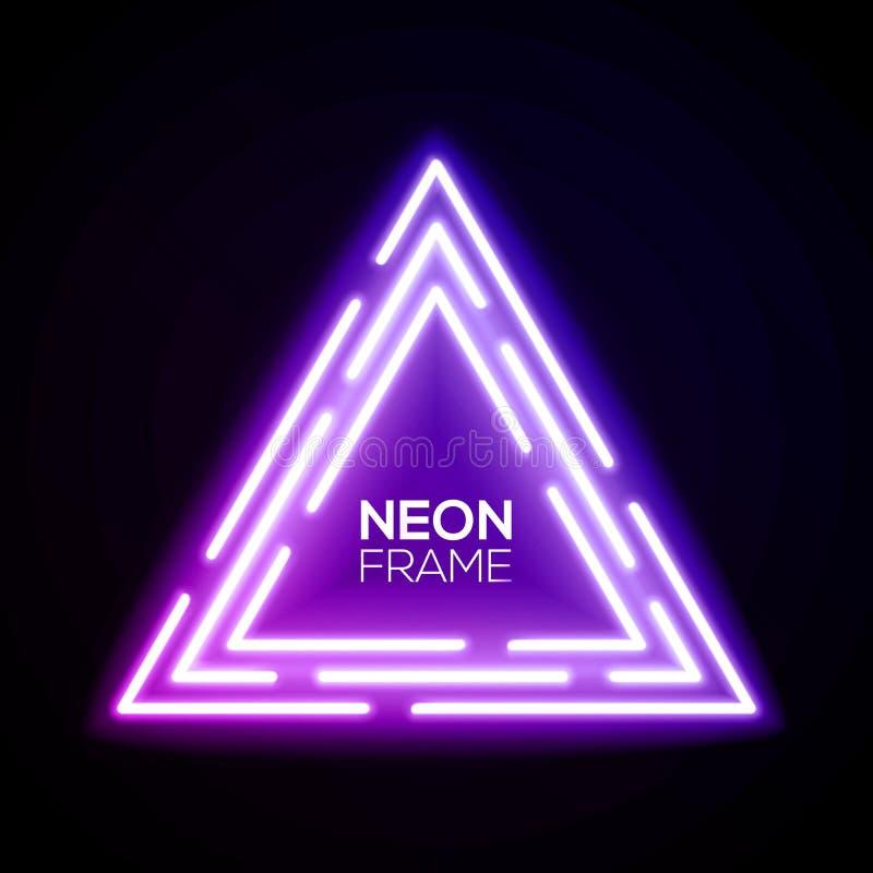 紫色霓虹灯三角 光亮的techno框架 库存例证