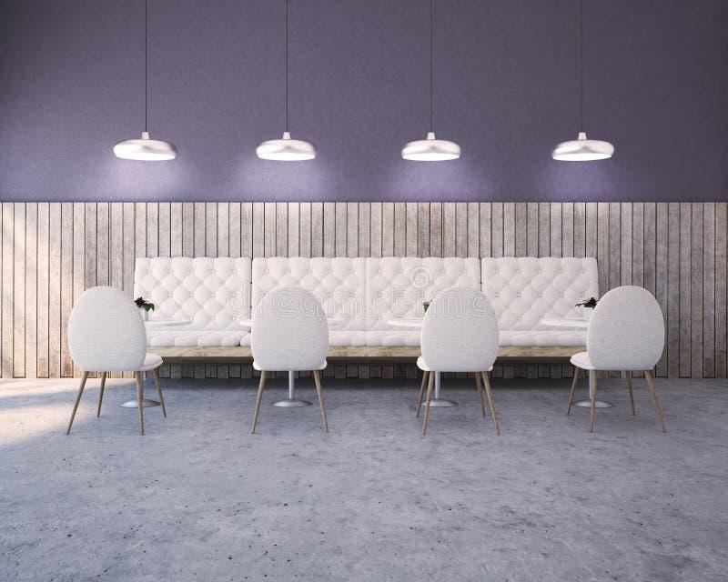 紫色,木餐馆内部、沙发和椅子 皇族释放例证