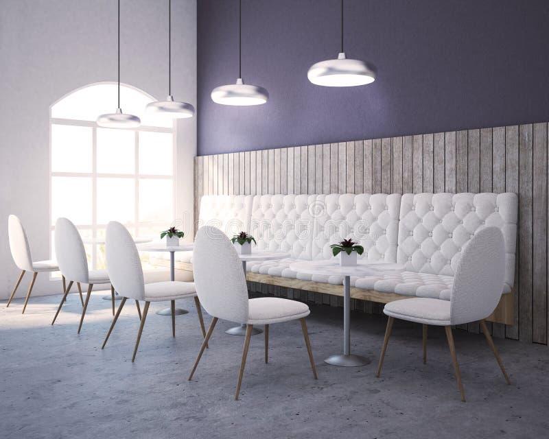 紫色,木餐馆角落、沙发和椅子 皇族释放例证