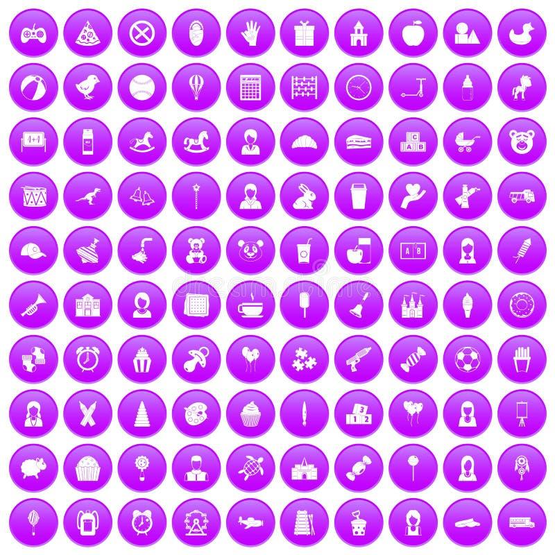 紫色100个儿童中心的象被设置 向量例证